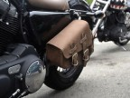 Brown Leather Swingarm Single Sided Pannier Saddle Bag for Harley Davidson Sportster